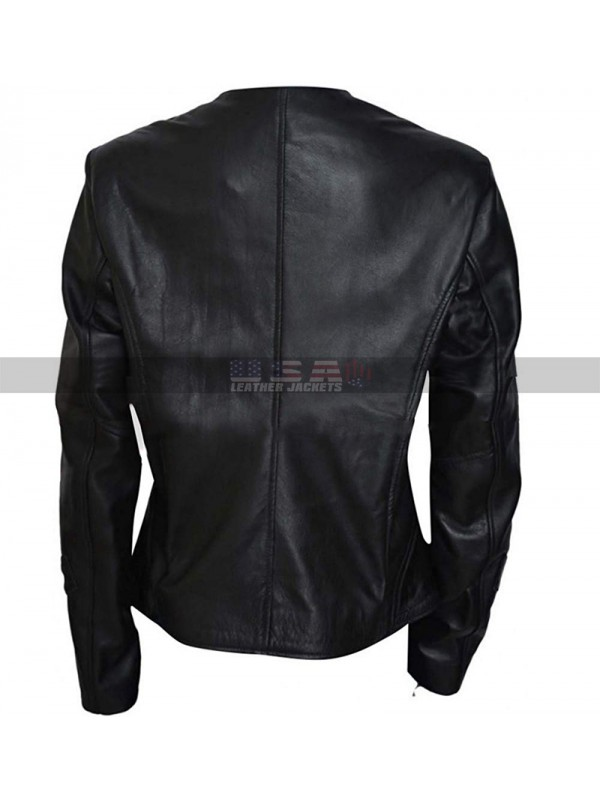 Melissa O'Neil Black Leather Women's Dark Matter Costume Jacket