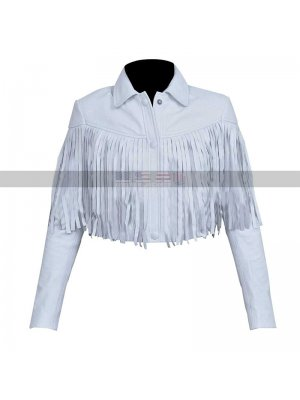 Sloane Peterson Ferris Bueller's Day Off Mia Sara White Fringe Leather Jacket