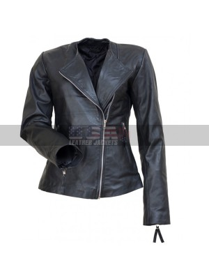 Michelle Marie Pfeiffer Black Biker Leather Jacket