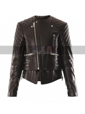 Miranda Kerr Motorcycle Quilted Black Leather Jacket