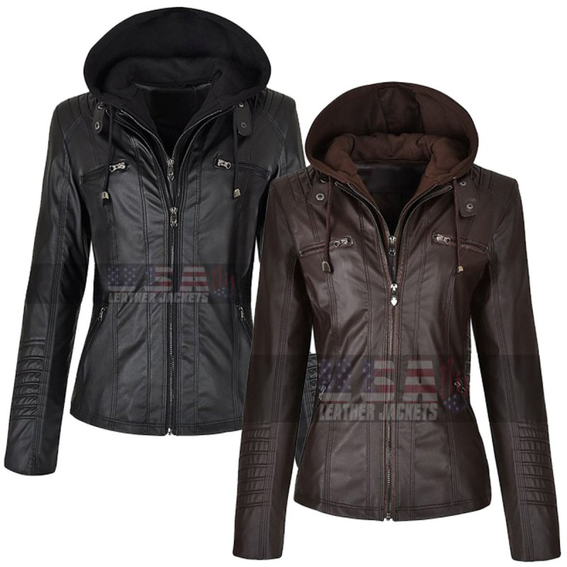Women S Slim Fit Detachable Zipper Hoodie Leather Jacket Prepare for breezy evenings with an array of stylish summer jackets, from denim and bombers to rain coats and cardigans. women s slim fit detachable zipper hoodie leather jacket