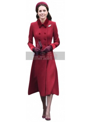 Princess Kate Middleton Red Trench Wool Coat