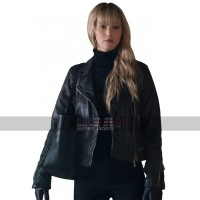 Red Sparrow Movie Costume Jennifer Lawrence Black Leather Biker Jacket