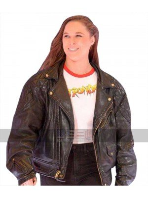 Ronda Rousey (Roddy Piper) Quilted Shoulders Biker Leather Jacket