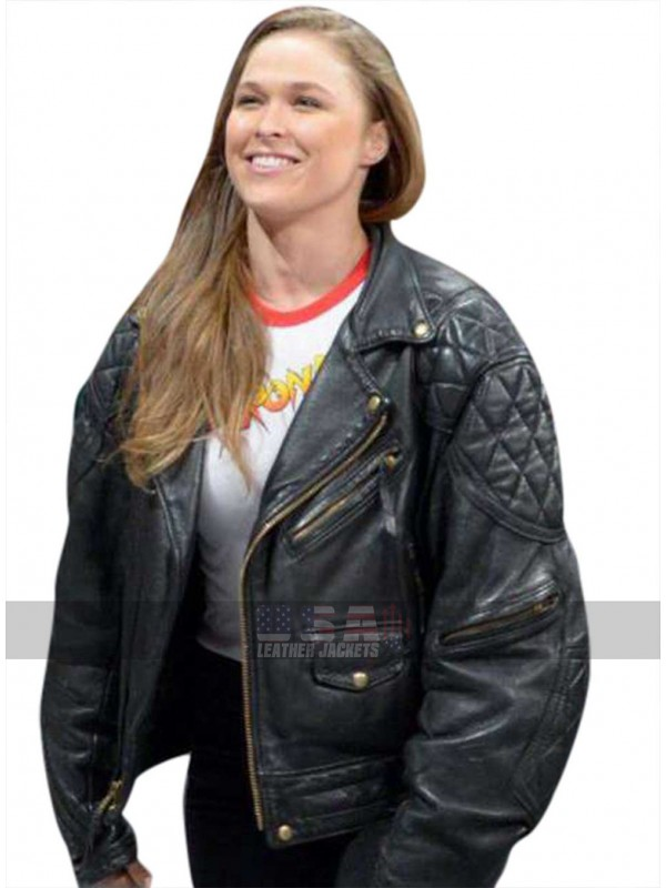 Ronda Rousey Roddy Piper Quilted Shoulders Biker Leather Jacket