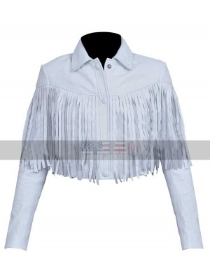 Sloane Peterson (Mia Sara) Fringe White Motorcycle Leather Jacket