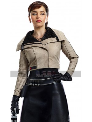 Solo A Star Wars Story Qira Short Body Fur Biker Leather Jacket