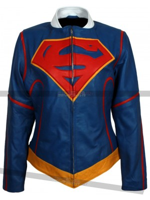 Supergirl Costume Kara Danvers Blue Leather Jacket