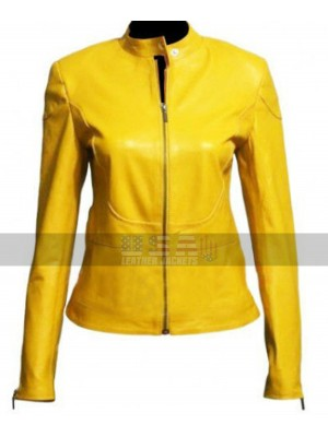 Megan Fox Teenage Mutant Ninja Turtles April O'Neil Yellow Biker Leather Jacket