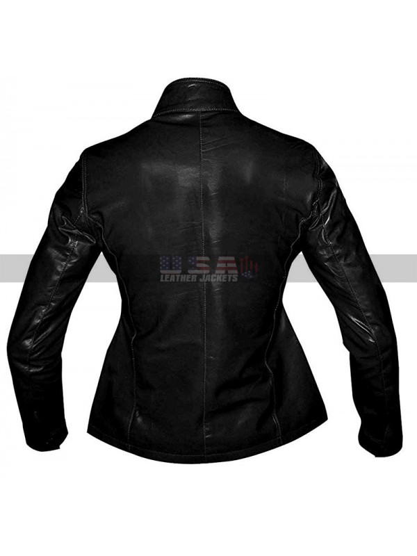 TV Series Law & Order Costume Mariska Hargitay Black Leather Jacket