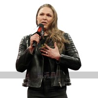 WWE Ronda Rousey Quilted Shoulders Biker Leather Jacket