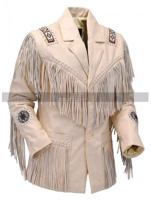 Women Western Coat Native American Cowgirl Cream Fringe Leather Jacket