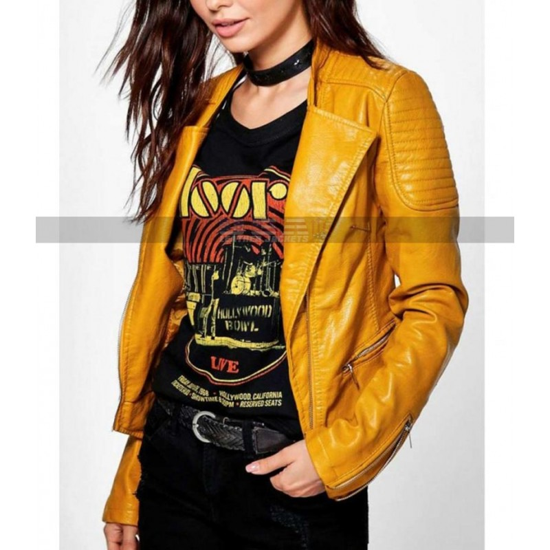 Womens Motorcycle Outwear Slim Fit Biker Yellow Leather Jacket