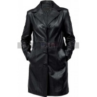 Women's Black Petite Trench Leather Coat