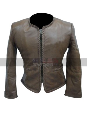 Women Body Fitted Stylish Biker Grey Leather Jacket