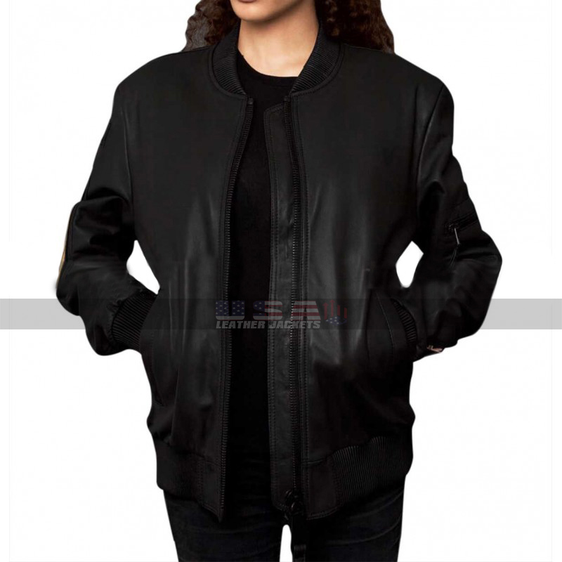 Women's (Winter Season) Military Patches Motorcycle Varsity Black Leather Jacket