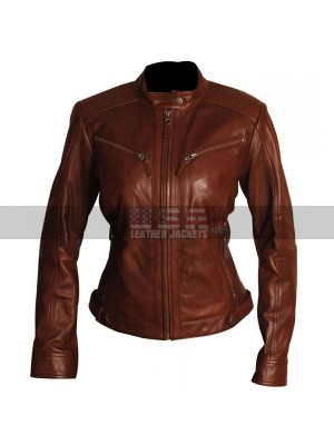 Slim Fit Women Brown Body Fitted Motorcycle Leather Jacket
