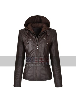 Slim Fit Detachable Zipper Hoodie Leather Jacket