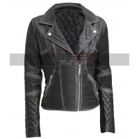 Womens Quilted Design Slim Fit Motorcycle Black Leather Jacket