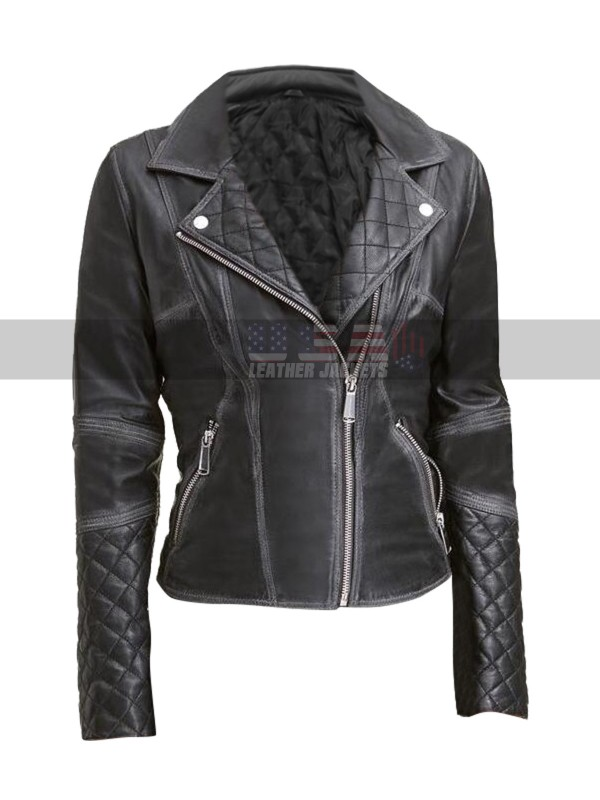 b3edefdaa76a8 Womens Quilted Design Slim Fit Motorcycle Black Leather Jacket