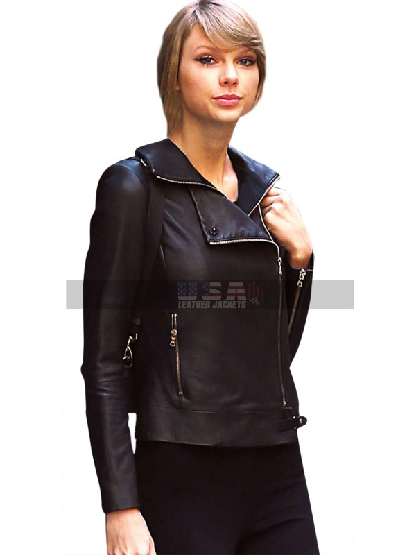 Taylor Swift New York Sophisticated Womens Black Leather Jacket