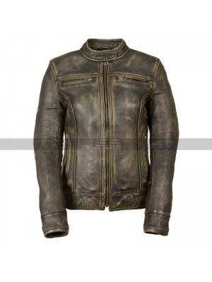 Cafe Racer Vintage Triple Stitch Women Biker Distressed Brown Jacket