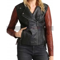 Ladies Slim Fit Biker Two Tone Asymmetrical Motorcycle Leather Jacket