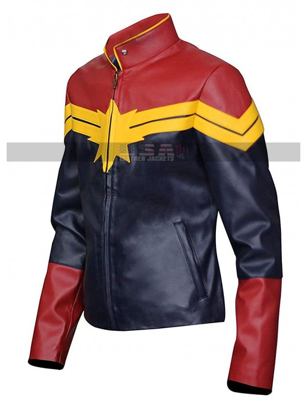 Avengers Captain Marvel Carol Danvers Cosplay Leather Jacket