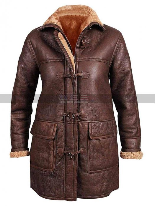 Women B3 Aviator Fur Shearling Mid Length Sheepskin Brown Hooded Leather Duffle Coat