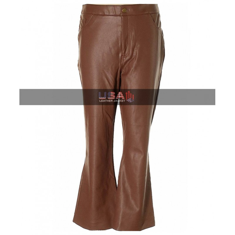 Women Bell Bottom Brown Leather Pants
