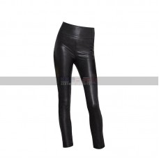 Women Slim Fit High Waisted Leggings Skinny Black Leather Pants