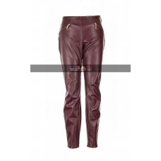 Women Straight Burgundy Leather Pants