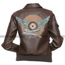Aviator Captain Marvel Brown Leather Jacket