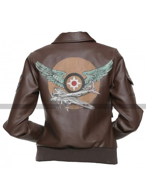 Captain Marvel Costume Aviator Brown Leather Jacket