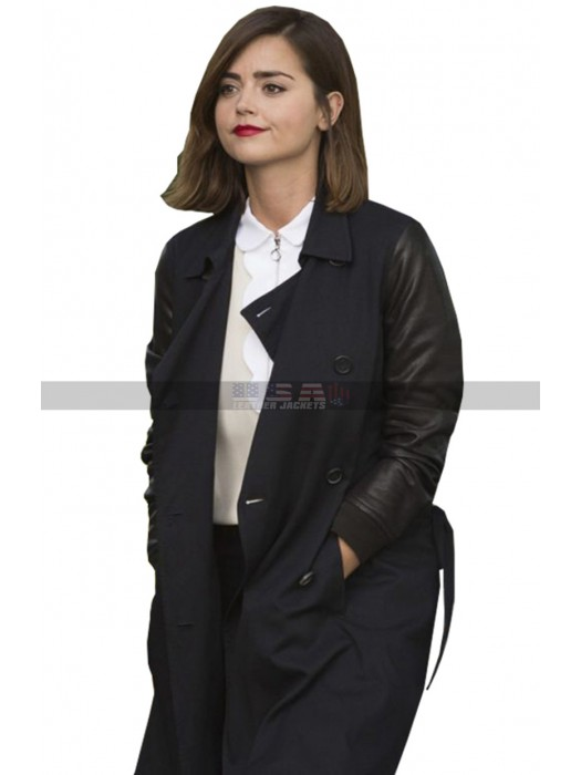 Doctor Who Clara Oswald Double Breasted Faux Leather Coat