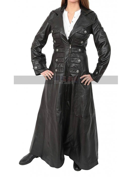 Gothic Women's Winter Full Length Black Leather Trench Coat