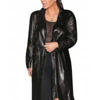 Kim Kardashian Clothing Costume Black Leather Trench Coat