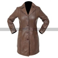 Women's Lambskins Knee Length Brown Leather Trench Coat