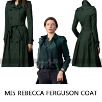 Ilsa Faust Mission Impossible 5 Rebecca Ferguson Green Wool Coat
