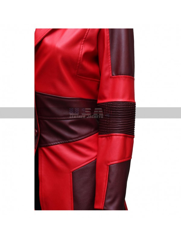 Captain America:Civil War Scarlet Witch Red Leather Coat