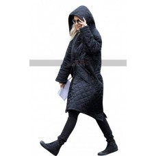 UK Singer-Songwriter Rita Ora Black Parachute Hoodie Coat