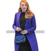 The Age of Adaline Blake Lively Blue Wool Trench Cot For Women's