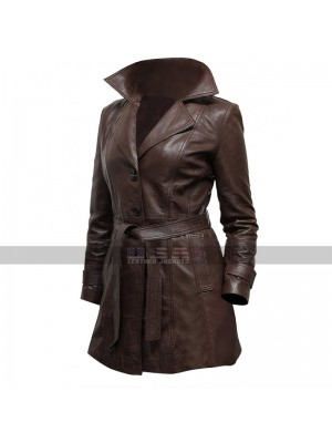 Vintage Long Length Belted Style Women's Sheepskin Brown Leather Coat